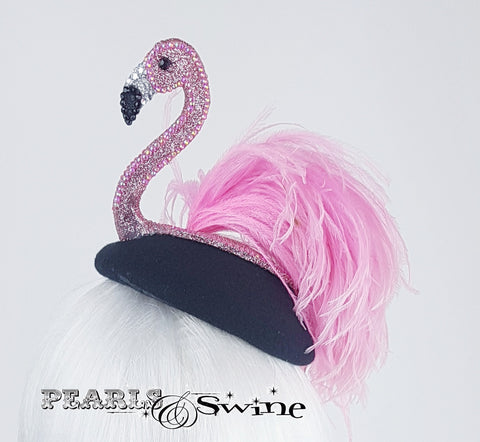 Hand-blocked pink flamingo hat