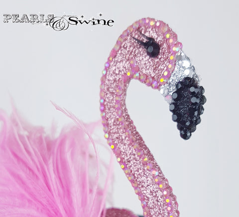Vintage inspired jewel encrusted flamingo hat
