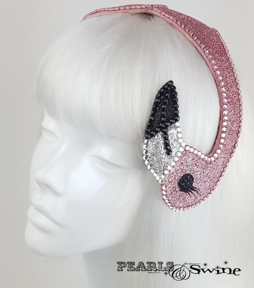 Pink Glitter Vintage Flamingo Hat, Alice in Wonderland headpiece