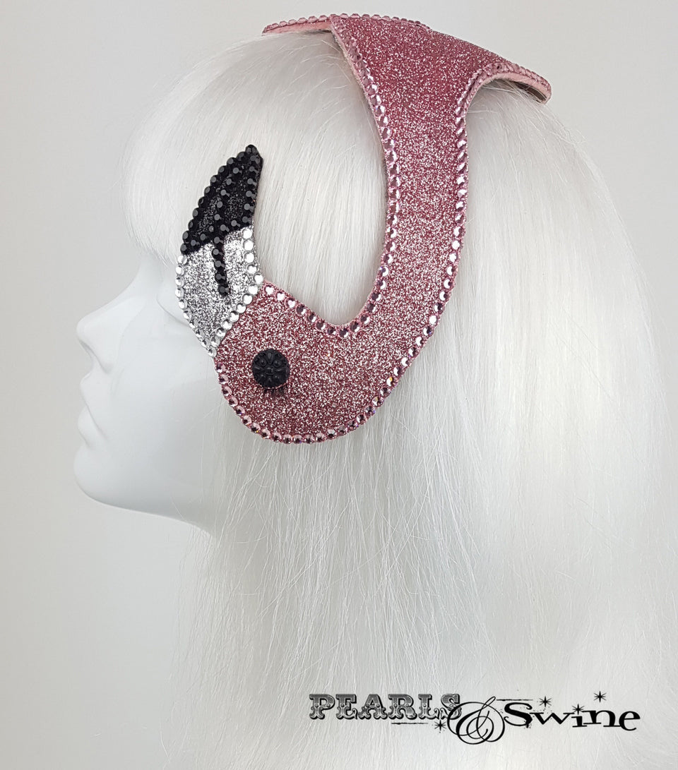 Pink Glitter Vintage Flamingo Hat, tropical headpiece