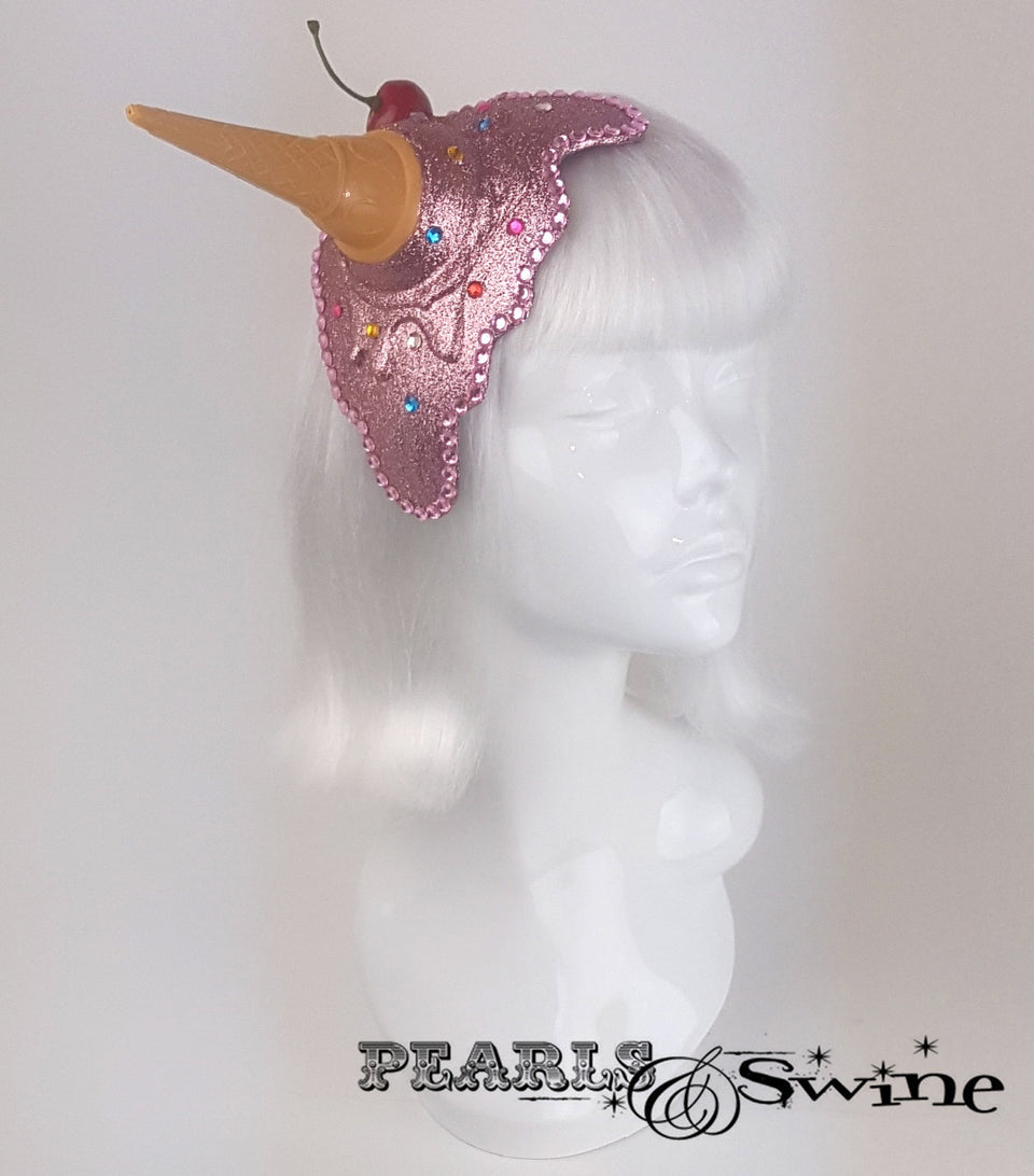 Dropped pink glitter ice cream fascinator
