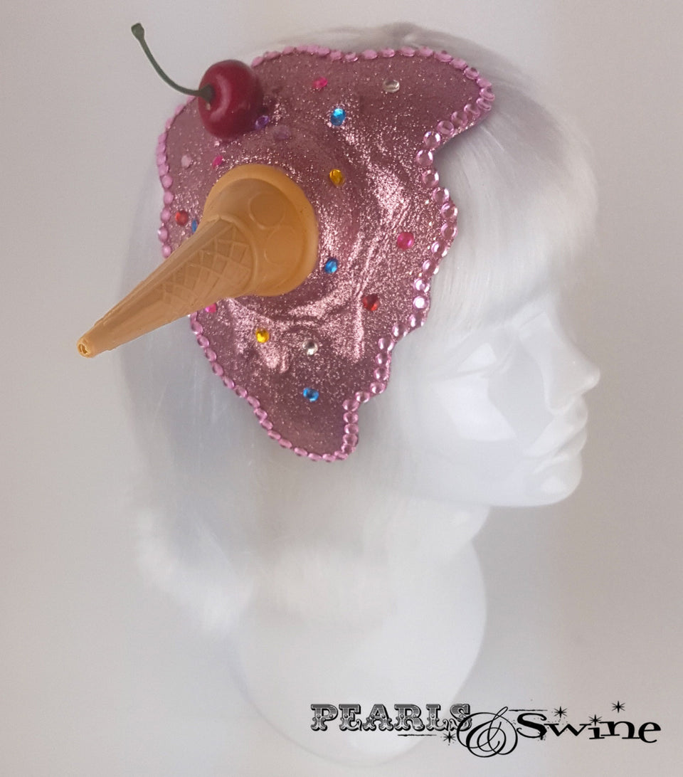 Dropped pink glitter ice cream fascinator for sale UK