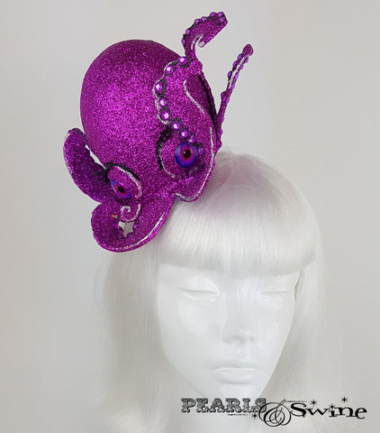 Pink Glitter Octopus Fascinator, unique ladies hats for sale UK