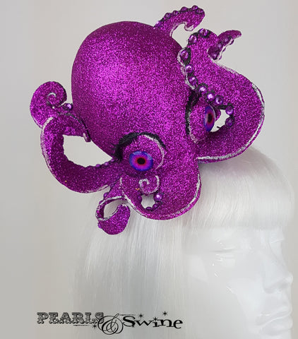 Pink Glitter Octopus Fascinator, surreal ladies hats for sale UK