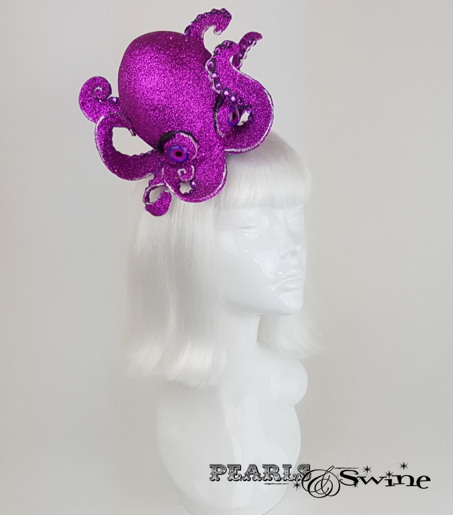 Pink Glitter Octopus Fascinator, quirky ladies hats for sale UK