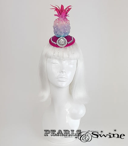 Glitter Pink Pineapple Headpiece, ladies hats for sale UK