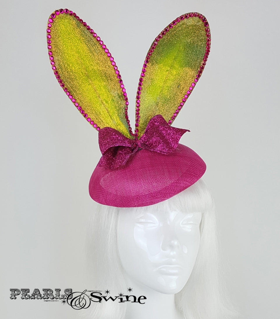 pink green glitter bunny ear hat UK