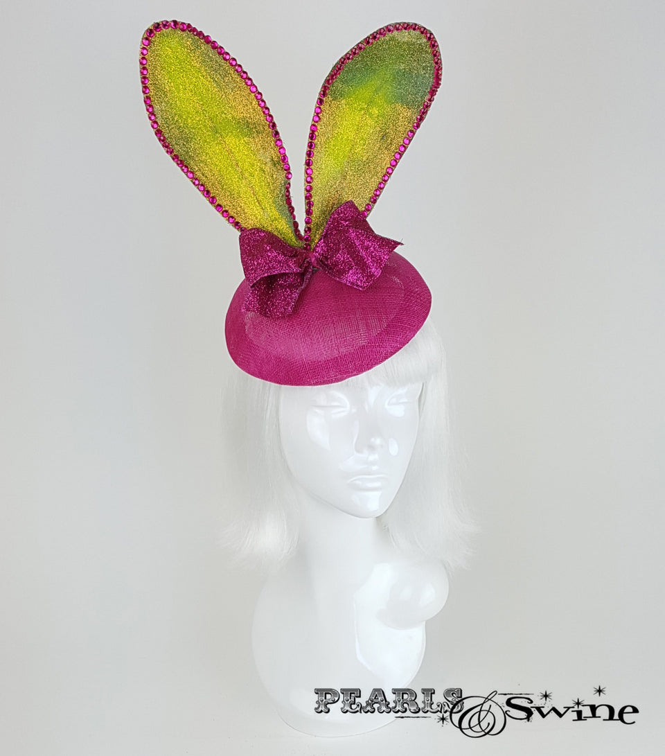pink green glitter bunny ear headpiece