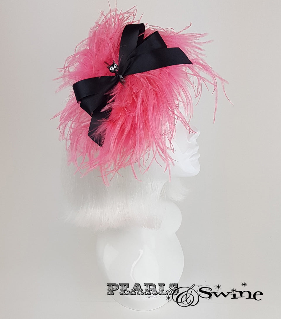 Power Puff Bow Feather Fascinator, retro burlesque hats for sale UK