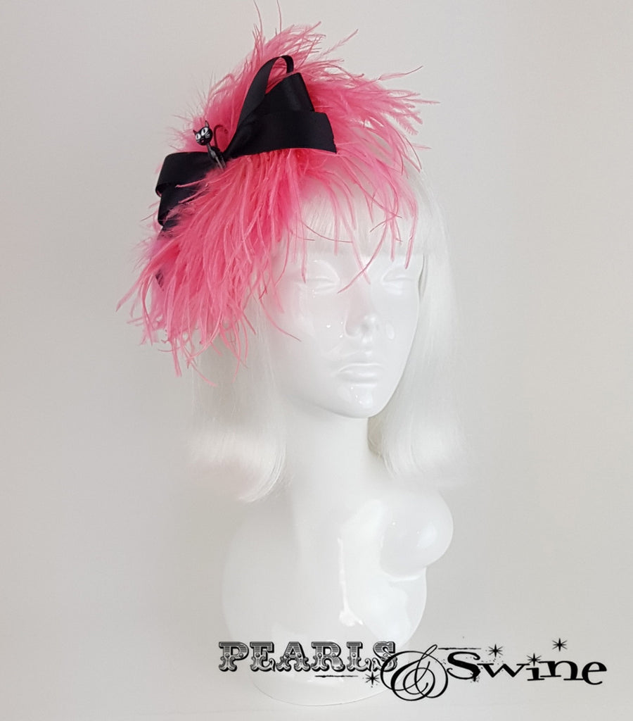 Power Puff Bow Feather Fascinator, retro pin up hats for sale UK