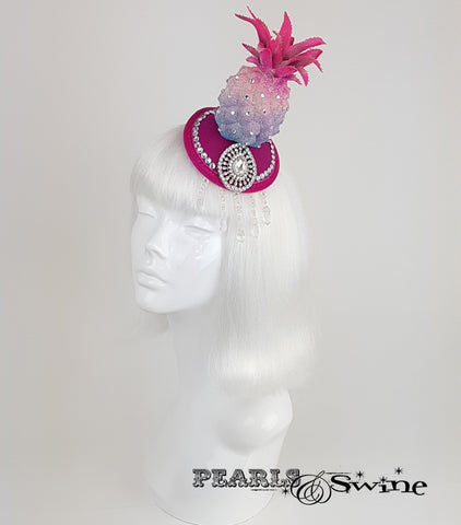 Glitter Pink Pineapple Headpiece, surreal hats for sale UK