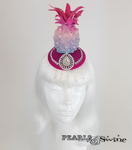 Glitter Pink Pineapple Headpiece, quirky hats for sale UK