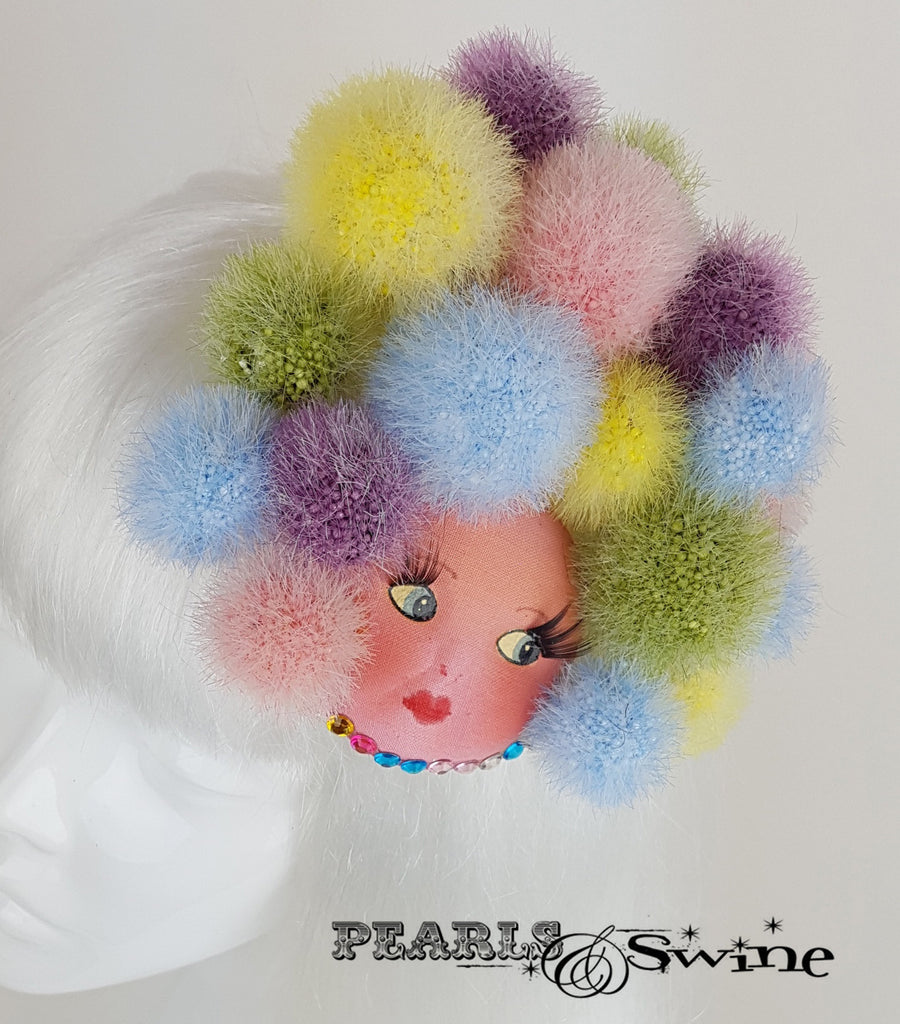 doll face fascinator pom pom quirky millinery