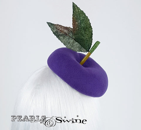 Hand blocked purple plum hat