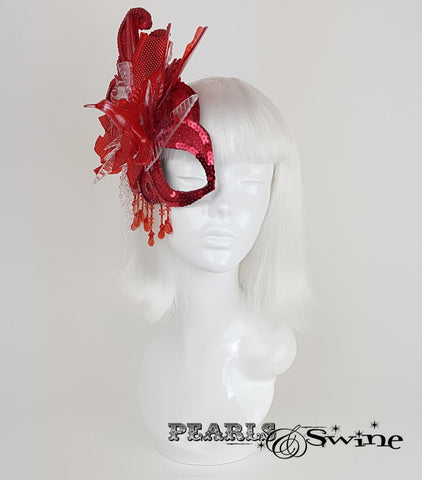 wearable art red half mask headpiece