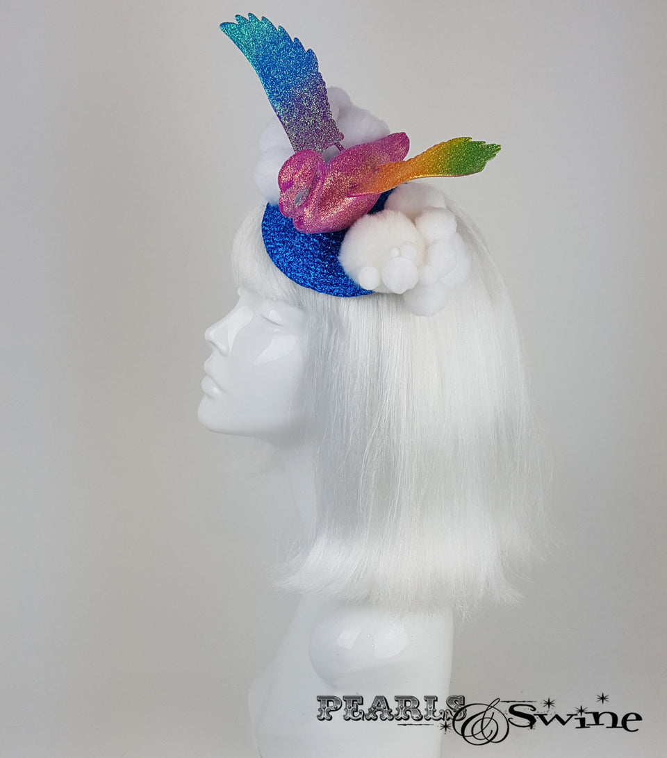 Rainbow Flamingo Glitter unique Fascinator