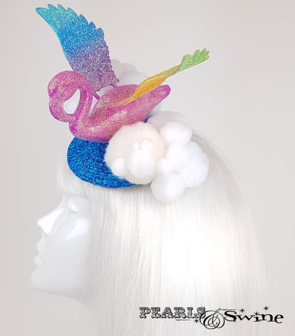 Rainbow Flamingo Glitter Fascinator