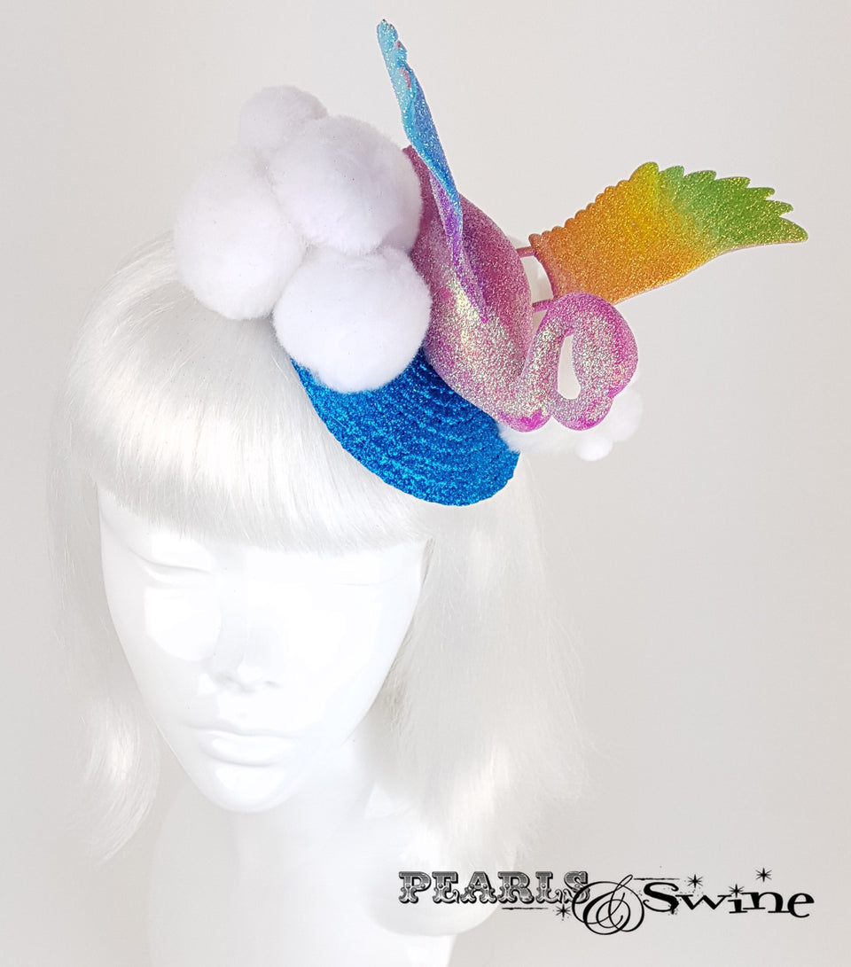 Rainbow Flamingo Glitter quirky Fascinator
