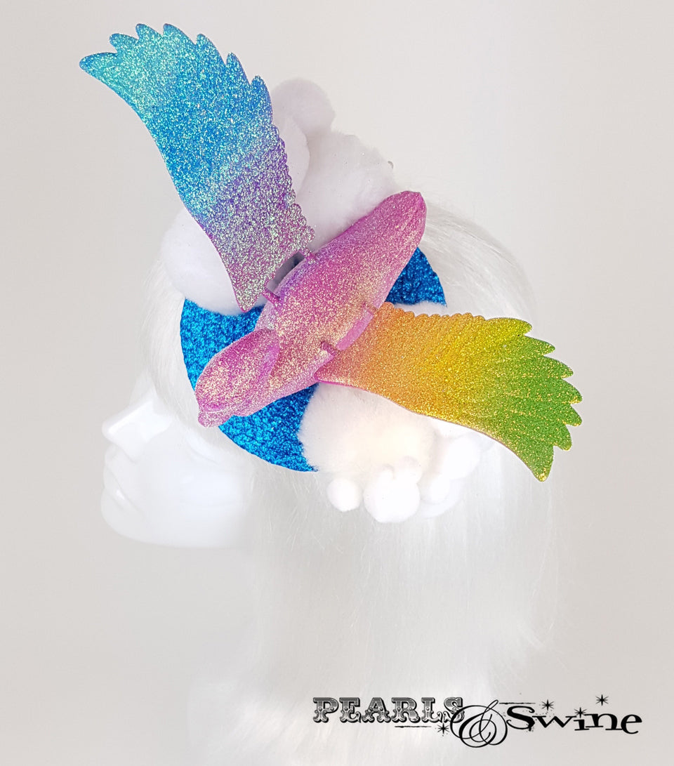 Rainbow Flamingo Glitter surreal Fascinator