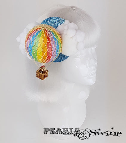 Rainbow hot air balloon quirky fascinator