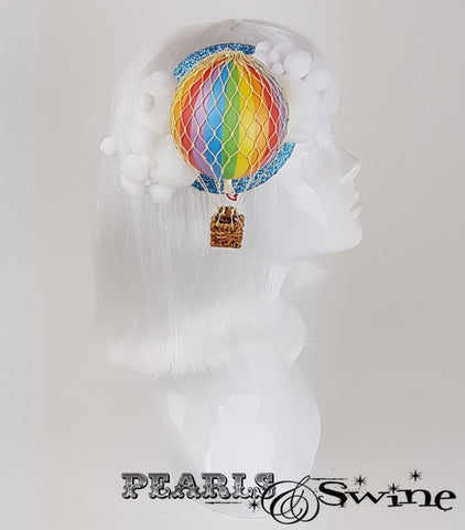 Rainbow hot air balloon surreal fascinator