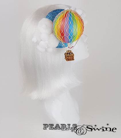 Rainbow hot air balloon unique fascinator UK