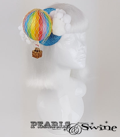 Rainbow hot air balloon glitter fascinator