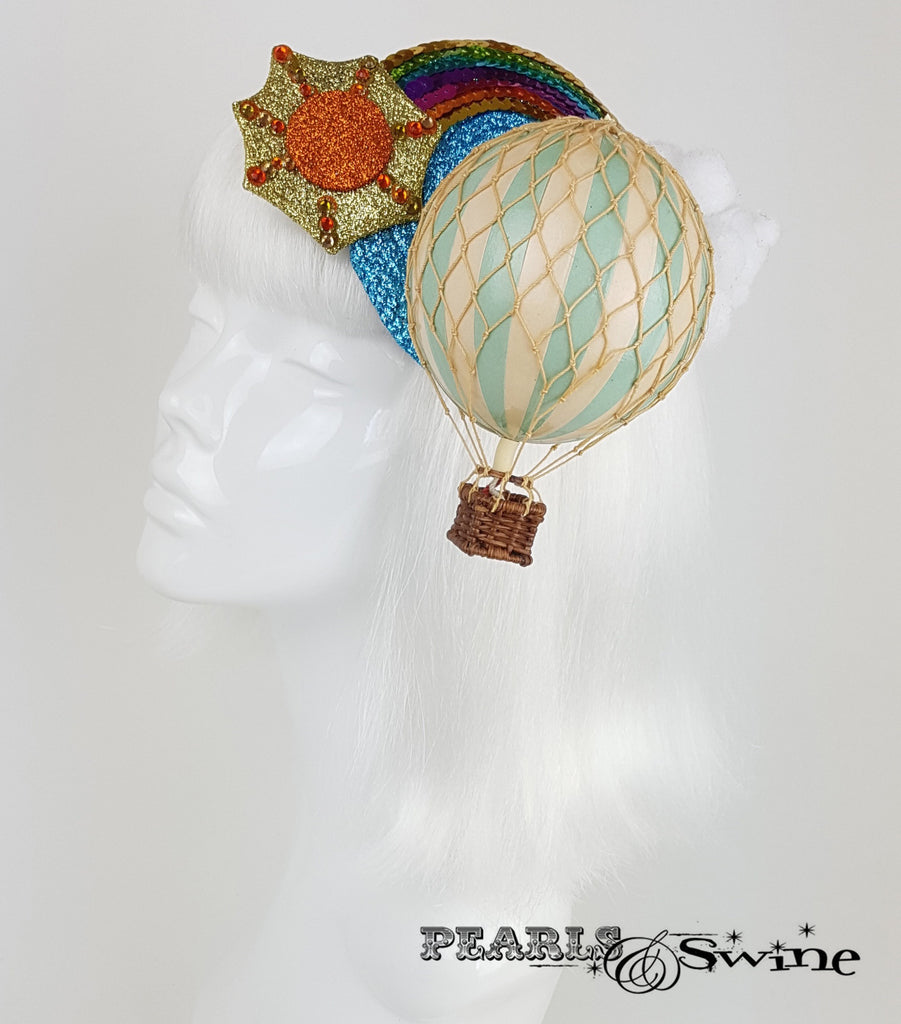 hot air balloon headpiece rainbow fascinator