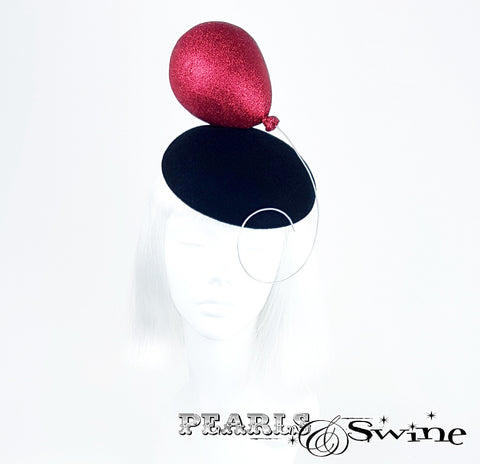 Quirky Red Glittery Balloon hat