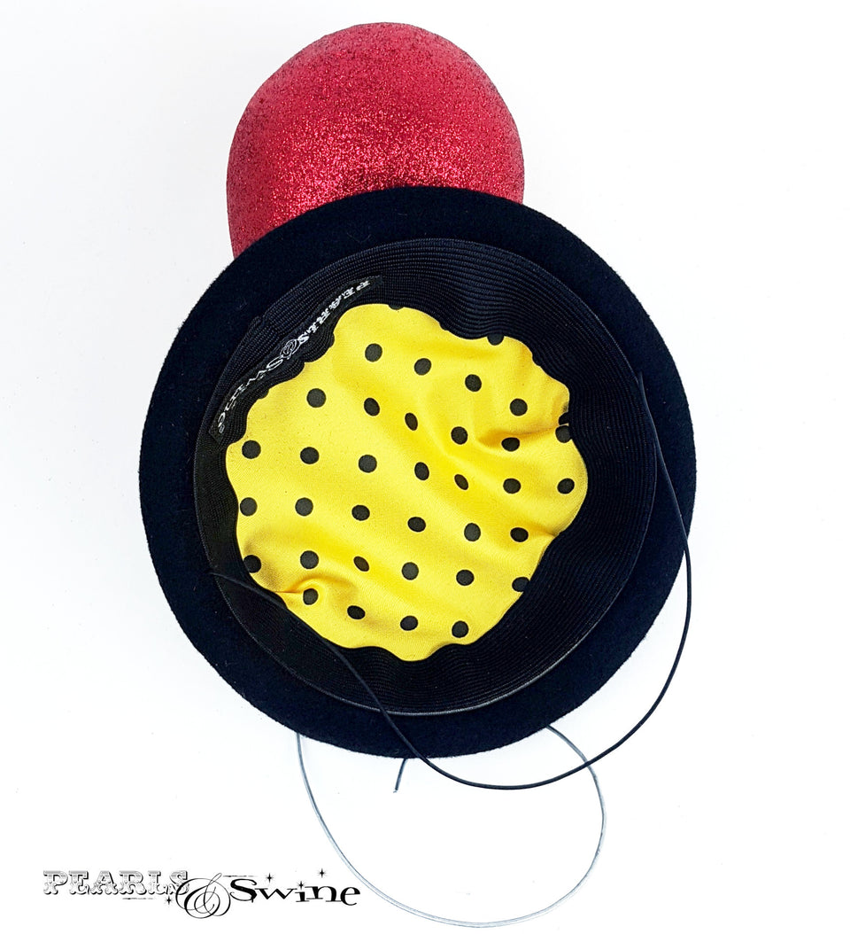 Hand blocked polka dot lined balloon hat