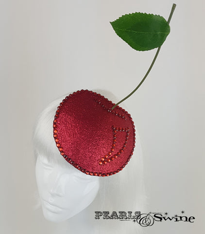 glitter fruit cherry hat fascinator millinery UK