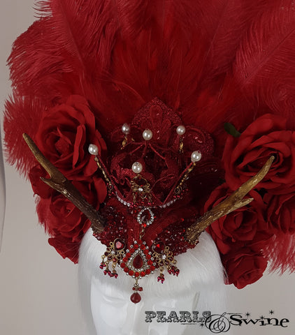 Red Feather Antler Crown Headdress, surreal hats for sale UK