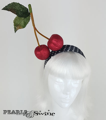 "Red Glitter Cherry Headband "" Kiraz"""