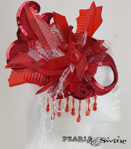 wearable art red half mask millinery UK