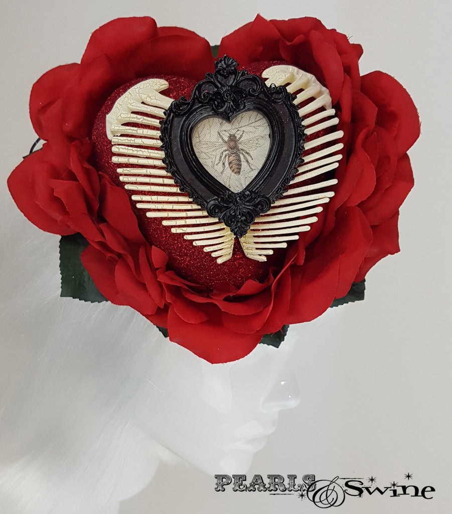 Red Glitter Heart, Rose & Ribs Hat, surreal hats for sale UK