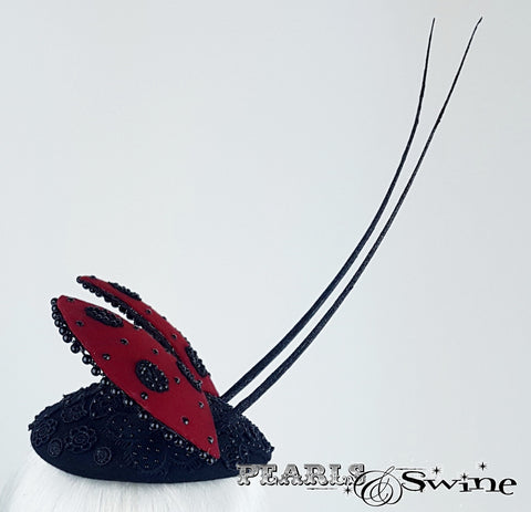 quirky bead encrusted ladybird hat