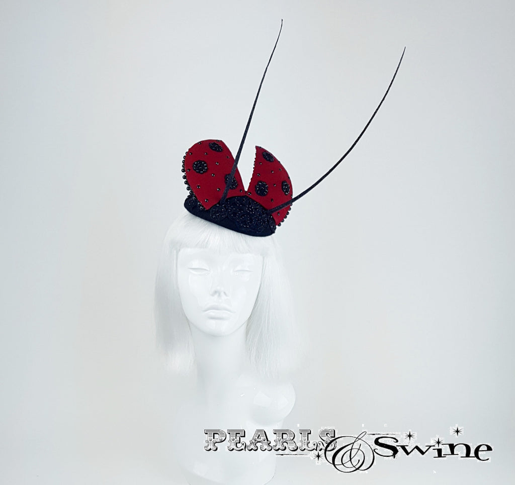 Bead encrusted lace Ladybird hat