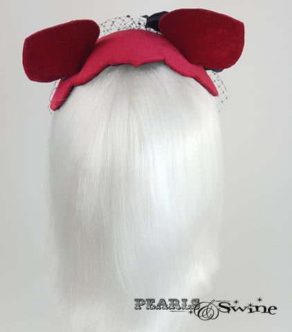 back of Cat Ear Red Velvet Vintage Fascinator