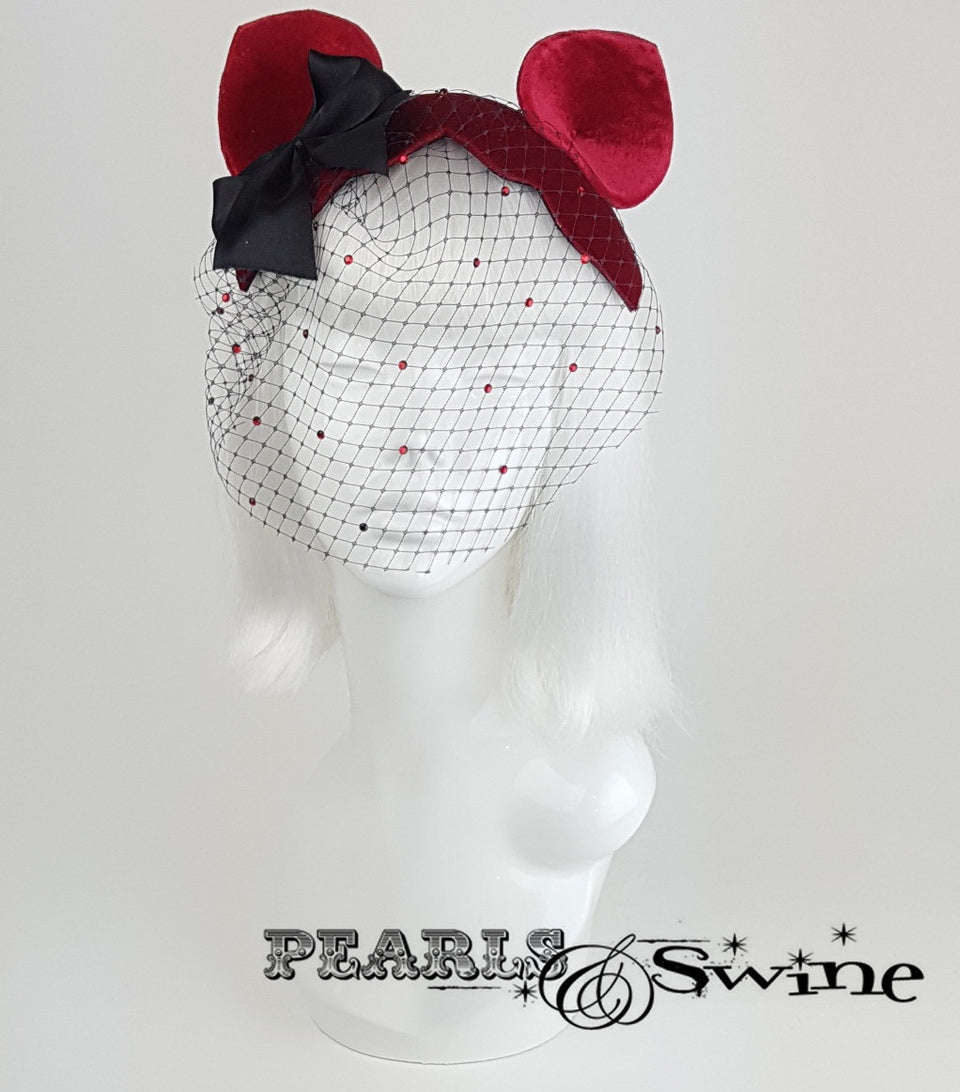 Cat Ear Red Velvet Vintage Fascinator, rock & roll bridal headpiece