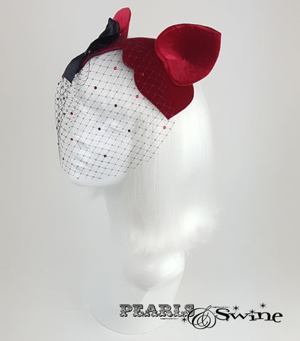 Cat Ear Red Velvet Vintage inspired Fascinator, UK