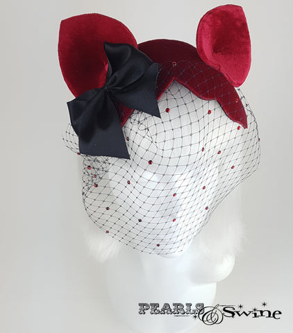 Cat Ear Red Velvet Vintage Fascinator, Quirky Millinery UK