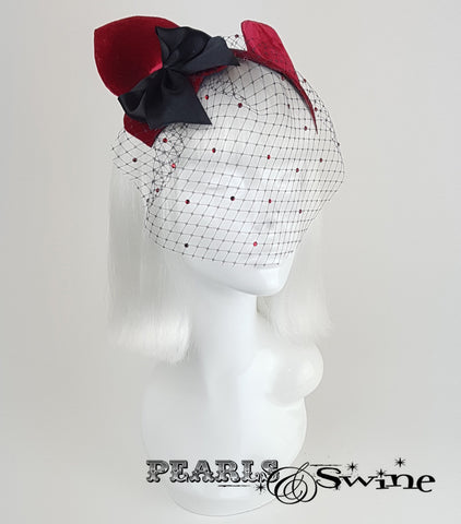 Cat Ear Red Velvet Vintage Fascinator, unique unusual headpieces
