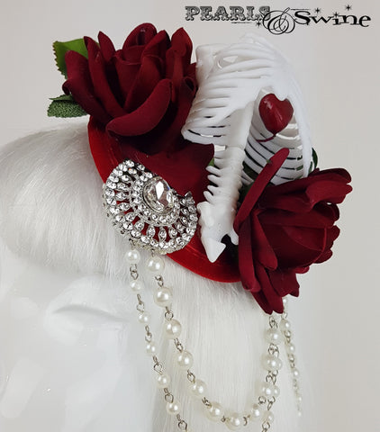 Gothic Rose & Skeleton Fascinator, surreal hats for sale UK