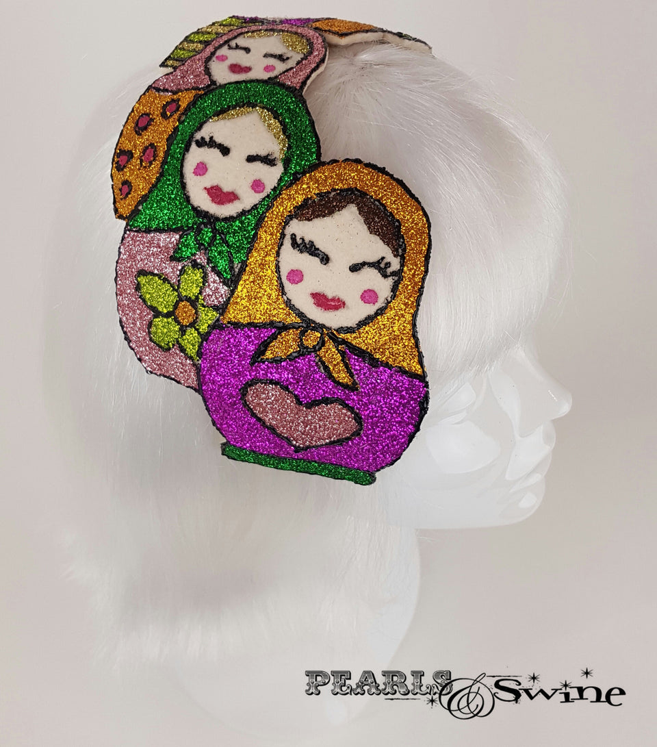 Colourful Glitter Russian Doll vintage style Hat