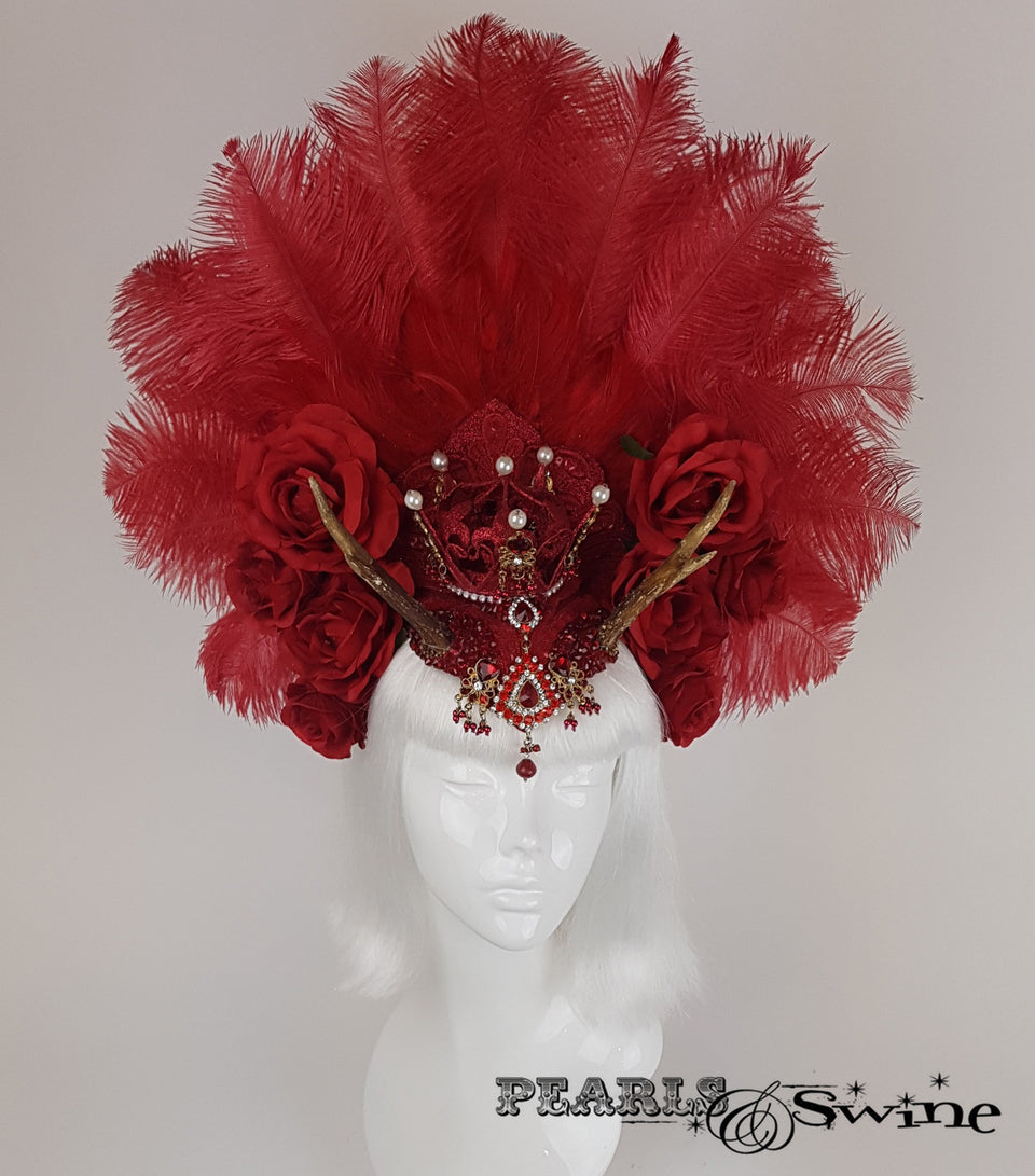 Red Feather Antler Crown gothic Headdress