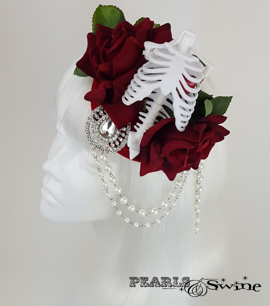 Gothic Rose & Skeleton Fascinator, goth hats for sale UK