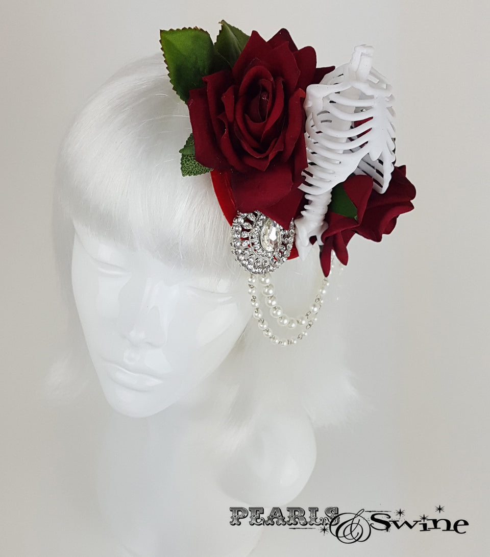 Gothic Rose & Skeleton Fascinator, ladies hats for sale UK