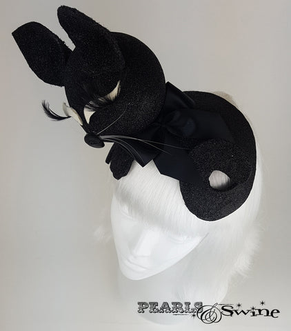 Black glitter crazy crazy cat lady hat