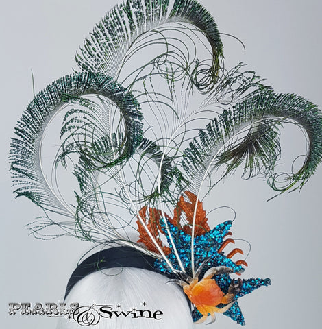 Peacock feathers and lobster headband
