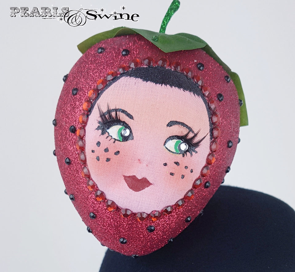 Sparkling doll face strawberry hat